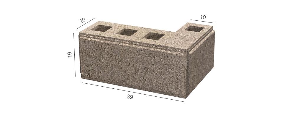 Розмір кутового колотого блоку